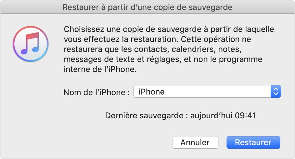 restauration de sauvegarde iphone