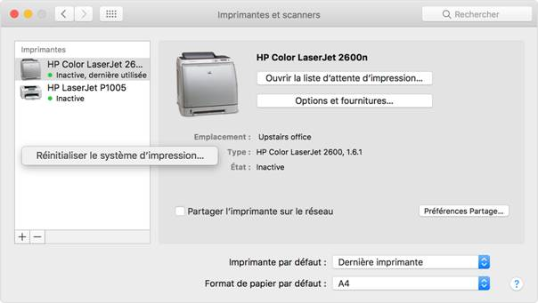 synchroniser son mac à une imprimante